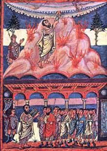 Bible de Moutier-Grandval. Moïse reçoit les tables de la loi. Vers 840 510 x 375mm, 510 folios