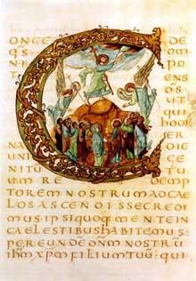 Folio du Sacramentaire de Drogon. Vers 850: Initiale C décorée avec scène de l'ascension. Paris, BNF.