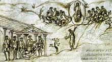 Psautier d'Utrecht, école de Reims. Folio 30. Vers 820-830. Utrecht, Bibliothèque de la Rijkuniversiteit