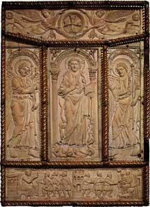 Evangéliaire de Lorsch: plat postérieur de la reliure. Ivoire. Ecole du palais de Charlemagne, vers 830