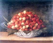 Stoskopff Sébastien: Nature morte à la coupe de fraises. Œuvre signée. Huile sur bois, 21x36cm. Strasbourg, Musée de l'œuvre Notre Dame. (Histoire de l'art)