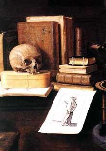 La grande vanité, détail. Œuvre signée et datée 1641. Huile sur toile, 125 x 165cm. Strasbourg, Musée de l'Œuvre Notre-Dame. (Histoire de l'art)