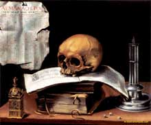 Vanité aux livres et à l'almanach. (Histoire de l'art)