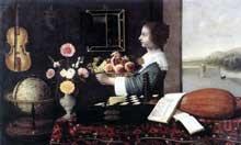 Stoskopff Sébastien: L'été ou les cinq sens. Œuvre signée et datée 1633. Huile sur toile, 114 x 186 cm.Strasbourg, Musée de l'Œuvre Notre-Dame. (Histoire de l'art)