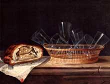 Stoskopff Sébastien: Corbeille avec verres, pâté et lettre adressée à Teniers. 1644. Huile sur toile, 52 x 63 cm. Strasbourg, musée de l'œuvre Notre Dame. (Histoire de l'art)
