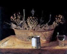 Stoskopff Sébastien: Nature morte aux verres dans un panier. Œuvre signée et datée 1644. Huile sur bois, 49 x 60,3cm. Collection privée, Canada. (Histoire de l'art)