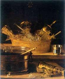Stoskopff Sébastien: Nature morte aux verres dans un panier. Huile sur toile, 65x54. Karlsruhe, Staatliche Kunsthalle. Partie droite d'une toile originale de 88 x 112cm, découpée pour correspondre à une œuvre du peintre lui faisant pendant. (Histoire de l'art)