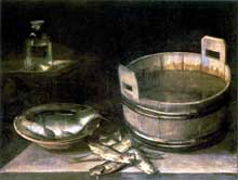 Stoskopff Sébastien: Nature morte au baquet, à la carpe et aux harengs saurs. Signée et datée de 1626. Huile sur toile, 78 x 101,5cm. Paris, Collection Jean-Max Tassel. (Histoire de l'art)