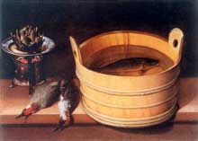 Stoskopff Sébastien: Nature morte au baquet, aux piverts et au réchaud. Bâle, Kunstmuseum. Huile sur toile, 54,5x73cm. (Histoire de l'art)