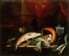 Stoskopff Sébastien: Nature morte à la carpe, aux légumes et à l'étain. Huile sur toile, 74x98cm. Galerie Nationale de Lubljana, Slovénie. (Histoire de l'art)