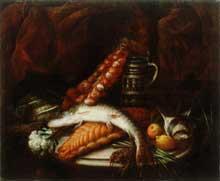 Stoskopff Sébastien: Nature morte au poisson, aux légumes et à la tresse d'oignons. Huile sur toile, 74x90cm. Galerie Nationale de Lubljana, Slovénie. (Histoire de l'art)