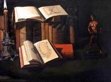 Stoskopff Sébastien: Nature morte aux livres avec chandelle et statuette en bronze. Huile sur toile. 69 x 51cm. Paris, musée du Louvre. (Histoire de l'art)