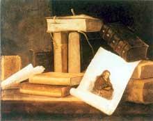 Stoskopff Sébastien: Nature morte aux livres. Huile sur lin, 50,4 x 60,7cm. Detroit, Institute of Arts. (Histoire de l'art)