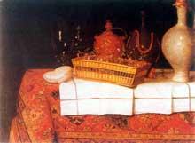 Stoskopff Sébastien: Nature morte à la nappe, à la corbeille de verres et aux bouteilles. Huile sur toile de lin, 95 x 124cm. Collection privée. (Histoire de l'art)