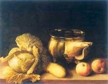 Stoskopff Sébastien: Nature morte à la cruche et au chou. Œuvre signée. Huile sur bois, 47 x 62cm. Greenwich (USA), Ambassador and Mrs. Verner Reed Collection. (Histoire de l'art)