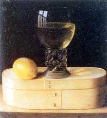 Stoskopff Sébastien: Boite en bois avec verre et citron. Œuvre signée. Huile sur toile, 30,2 x 27,7cm. Stockholm, collection privée. (Histoire de l'art)