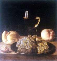 Stoskopff Sébastien: Verre, fruits et coquillage. Œuvre signée et datée 1644. Huile sur toile. 35 x 33cm. Collection privée. (Histoire de l'art)