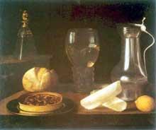 Stoskopff Sébastien: Verres, cruche, pain et fruits. Œuvre signée et datée 1627. Huile sur toile, 50 x 60 cm. Cologne, Wallraf-Richartz-Museum. (Histoire de l'art)