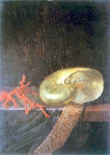 Stoskopff Sébastien: Coquillage et corail. Œuvre signée et datée 1643. Huile sur panneau de chêne, 37 x 27 cm. Strasbourg, Musée de l'Œuvre Notre-Dame. (Histoire de l'art)