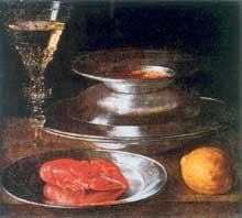 Stoskopff Sébastien: Nature morte aux assiettes et à l'écrevisse. Œuvre signée. Huile sur toile, 28,5 x 31,5cm. Le Havre, Musée des Beaux-Arts André Malraux. (Histoire de l'art)