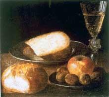 Stoskopff Sébastien: Nature morte aux assiettes et aux fruits. Œuvre signée. Huile sur toile, 28,5 x 31,5cm. Le Havre, Musée des Beaux-Arts André Malraux. (Histoire de l'art)