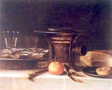 Stoskopff Sébastien: Nature morte au réchaud, fruits, huîtres et pâté. Huile sur bois, 54,5 x 64cm. Collection privée. (Histoire de l'art)