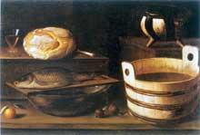 Stoskopff Sébastien: Nature morte au baquet et au poisson. Huile sur toile, 78 x 115cm. Lyon, Musée des Beaux-Arts. (Histoire de l'art)