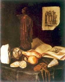Stoskopff Sébastien: Nature morte à la statuette d'Athéna et au buste. Huile sur toile, 49 x 39cm. Princeton, University Art Museum. (Histoire de l'art)