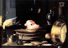 Stoskopff Sébastien: Nature morte à la tête de veau. Signée et datée de 1640. Huile sur toile, 87 x 122cm. Saarbrücken, Saarland-Museum. (Histoire de l'art)