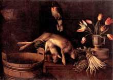 Stoskopff Sébastien: Nature morte aux lapins et au perroquet. (Histoire de l'art)