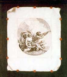 Stoskopff Sébastien: Trompe l'œil avec la scène mythologique du «triomphe de Galatée» d'après Michel Dorigny. Huile sur toile, 65 x 54cm. Vienne, Kunsthistorisches Museum. (Histoire de l'art)