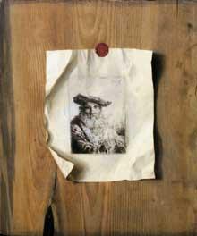 Stoskopff Sébastien: Trompe l'oeil avec une gravure de Ferdinand Bol «vieil homme barbu avec sa canne». 1642. Vaduz, Lichtenstein Sammlung. (Histoire de l'art)