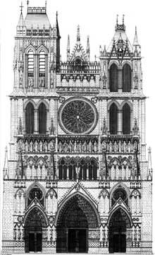 Amiens, la cathédrale. Représentation de la façade occidentale