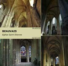Beauvais, église saint Etienne: les bas côtés de la nef et du choeur. Les arcs doubleaux des bas-côtés sont particulièrement épais, ce qui témoigne d'une maîtrise encore imparfaite de la croisée d'ogive