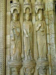 Bourges: la cathédrale Saint Etienne. Sculptures du portail