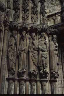 Chartres: cathédrale Notre Dame: portail central du transept nord, les piédroits.1194-1220