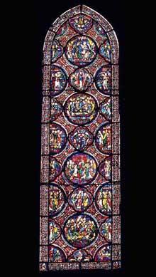 Chartres: cathédrale Notre Dame: vitrail du cycle ce sainte Marie Madeleine