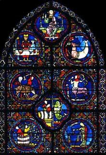 Chartres: cathédrale Notre Dame: verrière du zodiaque et des mois. Vers 1210
