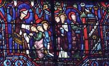 Chartres, cathédrale: vitrail du XIIIè représentant les saints Savinien et Potentien bénis par saint Pierre, puis arrivant à Sens