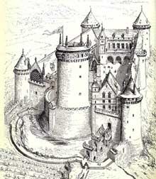 Le château de Coucy d'après un dessin de Violet le Duc