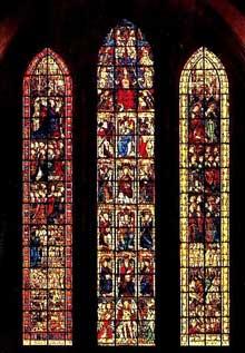 Cathédrale Notre Dame de Coutances. Vitrail du jugement dernier
