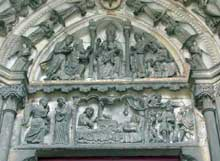 Laon: la cathédrale Notre Dame: tympan du portail nord