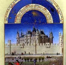 Paris, château du Louvre sous Cjharles V. Feuillet des «très riches Heures du duc de Barry» des Frères Limbourg, mois d'octobre