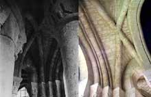 Abbaye fondée au IXè siècle par des religieuses bénédictines, l'église de Morienval, dans l'Oise, a été construite vers le milieu du XIè siècle. Le «pseudo déambulatoire» est couvert de quatre voûtes d'ogives très archaïques. Elles ne sont pas encore gothiques, mais romanes et ont été employées uniquement pour renforcer la construction du choeur menacé par la déclivité du terrain