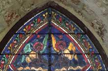 Orbais, l'église abbatiale. Vitrail, détail