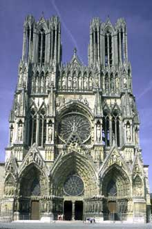 Reims : la cathédrale saint Remy. Façade occidentale