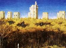Vincennes: le château, d'après les «Très riches Heures du Duc de Berry» des frères Limbourg. Détail du mois de Décembre, folio 12v