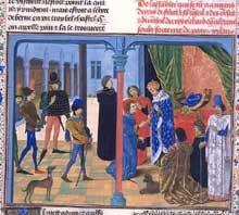 Froissart présente sont œuvre à Charles V