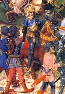 Louis IX (Saint Louis) lors de la 7è croisade. Manuscrit