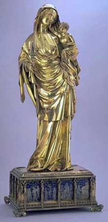 Vierge à l'Enfant de Jeanne d'Evreux; Paris, entre 1324 et 1339 argent doré, émaux translucides sur basse-taille, or, cristal de roche, pierres et perles - 69 cm. Musée du Louvre